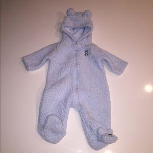Carter's blue bear fleece outfit obe piece 3 mos